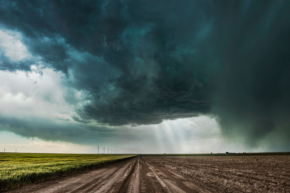 Road with Supercell. Ulysses, Kansas – Eric Meola